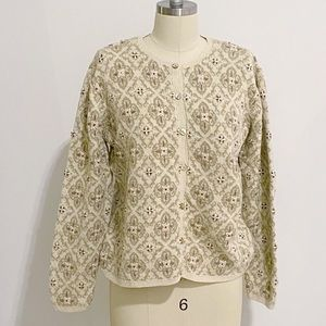 Talbots Vintage Cardigan Sweater with Embroidery L